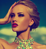 与明亮的构成的性感的时髦的白肤金发的模型在晚礼服 库存图片