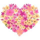 与明亮的桃红色和黄色花的心脏 库存照片