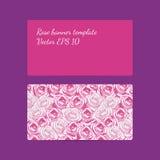 与明亮的桃红色玫瑰的装饰横幅模板和浅粉红色 库存照片