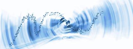 与明亮的梯度和迷离作用的蓝色音乐背景 免版税库存照片
