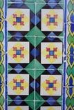 与明亮的正方形和菱形的Azulejos在样式 免版税图库摄影