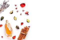 与明亮的水果,花卉,辣芬芳的香水 香水的成份 瓶在干燥花附近的香水 免版税库存照片