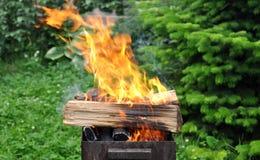 与明亮的火焰的热的木炭烤肉格栅在自然 库存图片