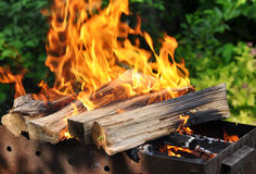 与明亮的火焰的热的木炭烤肉格栅在自然 免版税库存照片