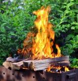 与明亮的火焰的热的木炭烤肉格栅在自然 库存照片