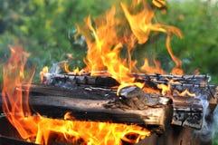 与明亮的火焰的热的木炭烤肉格栅在自然 免版税图库摄影