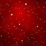 与明亮的简单的星的简单的满天星斗的深红天空 库存照片