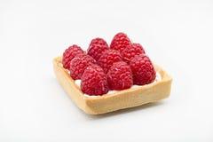 与明亮的红颜色的莓点心与奶油和蛋糕 免版税库存图片