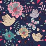 与明亮的花卉元素和鸟的无缝的五颜六色的纹理 图库摄影