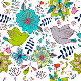 与明亮的花卉元素和鸟的无缝的五颜六色的纹理 库存图片