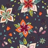 与明亮的花卉元素的无缝的五颜六色的纹理 库存图片
