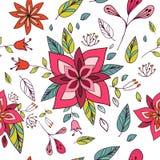 与明亮的花卉元素的无缝的五颜六色的纹理 免版税库存图片