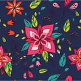 与明亮的花卉元素的无缝的五颜六色的纹理 免版税库存照片