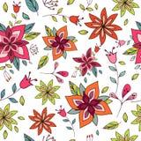 与明亮的花卉元素的无缝的五颜六色的纹理 库存照片