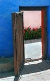 与明亮的花的门道入口 库存照片