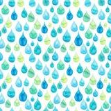 与明亮的蓝色和绿色雨下落的水彩无缝的纹理 图库摄影