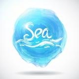 与明亮的蓝色飞溅的难看的东西抽象背景 海 向量 免版税库存照片