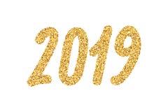 2019与明亮的闪闪发光的新年金黄数字 皇族释放例证