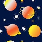与明亮的黄色行星和星的无缝的神仙的空间背景 向量例证