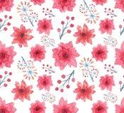 与明亮的水彩花和小的莓果的无缝的样式 免版税库存图片