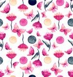 与明亮的水彩花和蝴蝶的无缝的纹理 图库摄影