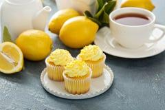与明亮的黄色结霜的柠檬杯形蛋糕 库存照片