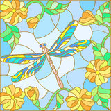 与明亮的蜻蜓的彩色玻璃例证反对天空、叶子和花 库存照片