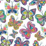 与明亮的蝴蝶的无缝的样式在白色背景 也corel凹道例证向量 免版税库存图片