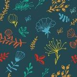 与明亮花卉无缝的五颜六色的纹理 库存照片