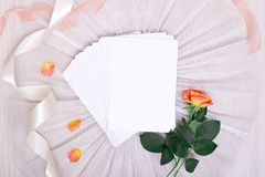 与明信片和桃红色玫瑰的大模型在白色背景 卡片和桃红色花 着墨笔,着墨,盖印,香水和丝带 免版税图库摄影