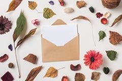 与明信片的秋天背景在信封 图库摄影