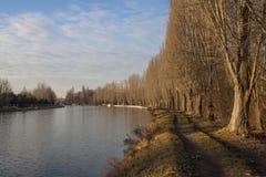 与易北河的自然风景 免版税库存照片