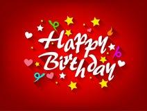 与星、心脏和丝带的生日快乐卡片 免版税图库摄影