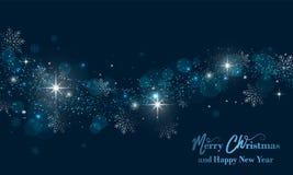 与星、闪烁和雪花的圣诞快乐和新年快乐横幅 向量背景 向量例证