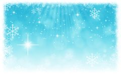 与星、雪花和锂的抽象蓝色圣诞节背景 库存例证