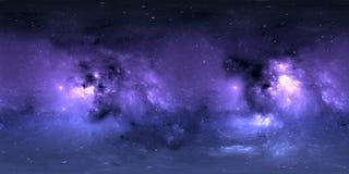 与星云和星的空间背景 全景,环境360 HDRI地图 Equirectangular投射,球状全景 免版税库存照片