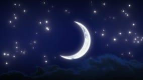 与星和云彩的美丽的新月 夜间流逝 使成环的动画 HD 1080 影视素材