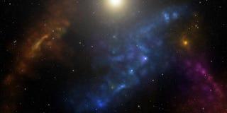 与星和星云的波斯菊 科学幻想小说背景 库存照片