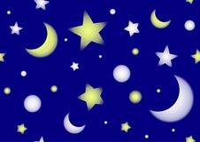 与星和月亮的无缝的样式 库存照片