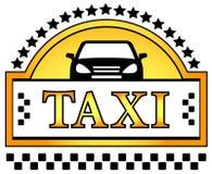 与星和汽车剪影的出租汽车象 库存图片