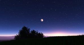 与星和满月的夜风景 皇族释放例证