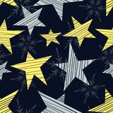 与星和雪花的假日无缝的样式 库存例证