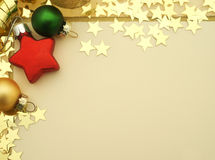 与星形和装饰的圣诞卡 免版税图库摄影