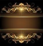 与星形和金黄装饰品的背景 免版税库存图片