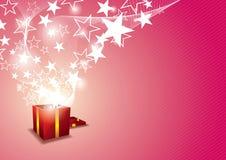 与星形浮动的礼物盒 免版税库存图片