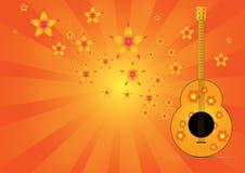 与星形音乐的吉他在抽象背景 库存图片