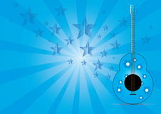 与星形音乐的吉他在抽象背景 免版税库存照片