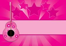 与星形音乐的吉他在抽象背景 免版税库存图片