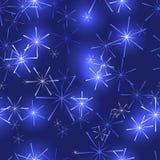 与星或雪花的深蓝背景 免版税库存图片