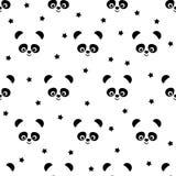 与星无缝的样式的熊猫在白色背景 库存图片